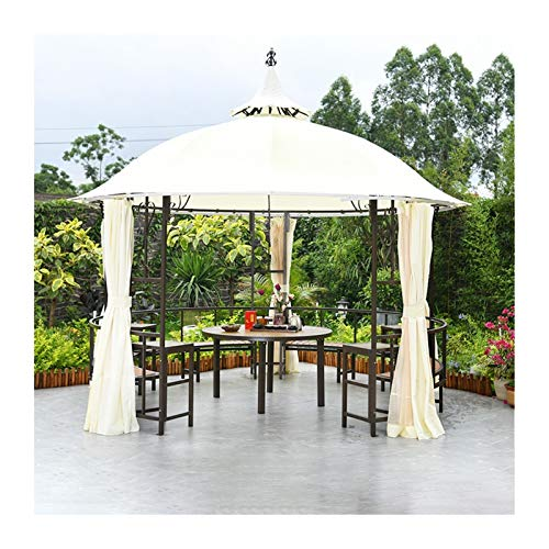 HLZY Permanent Gazebo for Patio Lawn, 10x10 FT Gazebos for Patios with Desk, Patio Pavilion, Outdoor Party Pergola with Netting and Curtains, Backyard Furniture Set