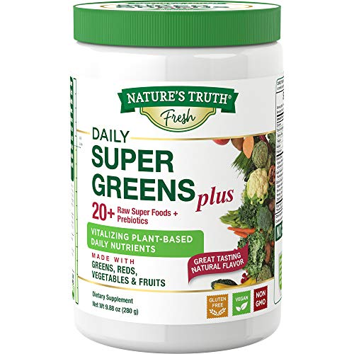 Nature's Truth Daily Super Greens Powder with Reds, Prebiotics & Antioxidants, 9.88 Ounce