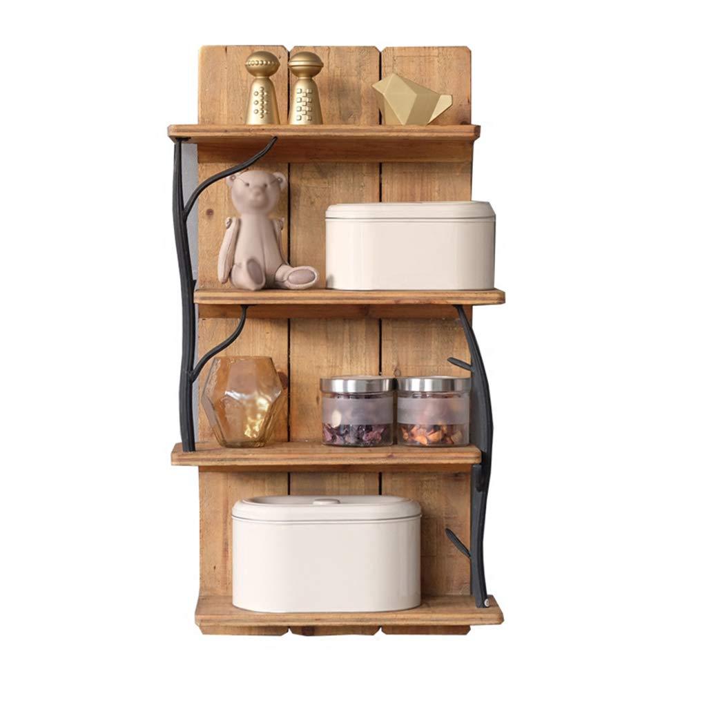 3 niveaux avec 2 crochets SoBuy FRG28-B-N Etag/ère murale salle de bain toilettes en bambou Meuble de Rangement Cuisine