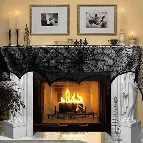 Yiwa schoorsteenmantel van spinnennet kant zwart