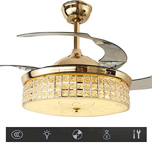 Solucky Moderne plafondventilator met licht en afstandsbediening, moderne plafondventilator voor woonkamer, slaapkamer, restaurant