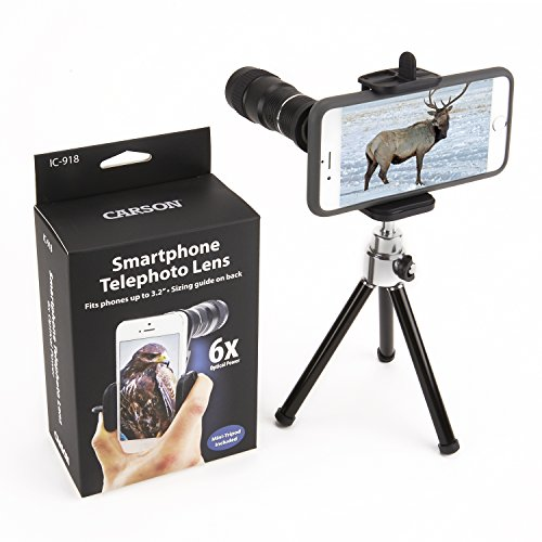 Carson HookUpz Universal Digiscoping Smartphone Adapter with 6x18mm Telephoto Lens Monocular and Mini Adjustable Tripod (IC-918)