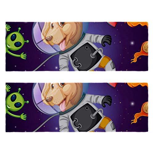 2 paquetes de toallas de yoga para gimnasio, camping, playa y viajes, un perro en el espacio planeta Alien Rocket Sports Bench toalla para cuello, secado rápido