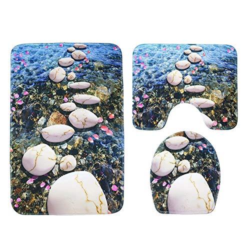 Badmat extra zacht van polyester, 3-delig anti-slip Sea World Set badmat + voetmat + wc-stoelbekleding B