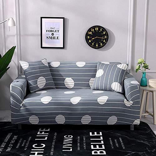 Funda Sofá 90-140 cm con Funda de Cojín de 1 Piezas 45x45 cm (Pack de 2), Poliéster Stretch Cubre Sofá Funda Protector Antideslizante Sofa Couch Cover (Rayas Grises/1 Asientos)