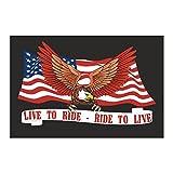 Aigle bandiera Bandierina Live to Ride cuciture rinforzate in inglese, per moto Harley-custom e ideali ...