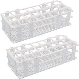 لوله تست پلاستیکی Rack - Buytra 2 Pack 24 Holes آزمایشگاه آزمایشگاه لوله کشی برای 25mm تست لوله، قابل جدا شدن، سفید