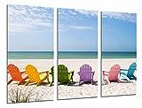 Cuadro Fotográfico Playa tumbonas de colores, Mar, Vacaciones, Sol Tamaño total: 97 x 62 cm XXL