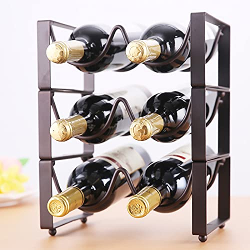 Heavy Botelleros Soporte de Vino de encimera de encimera de Estante de Vino apilable para estanterías de Almacenamiento de Botellas de Vino, 3 Niveles 6 Botella sin Cola de Botella de Vino estantería