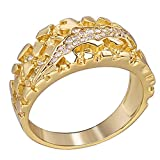 Men's Nugget Ring - Plain Solid 925 Sterling Silver Ring - Iced Cz Claw Mark - 14k Yellow Gold Finish - Sizes 6-13 (13)