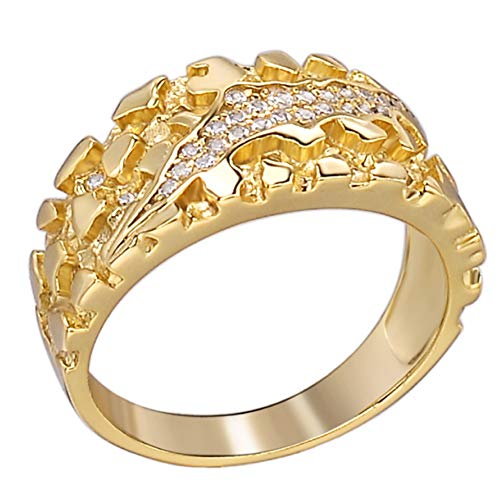 Men's Nugget Ring - Plain Solid 925 Sterling Silver Ring - Iced Cz Claw Mark - 14k Yellow Gold Finish - Sizes 6-13 (8)