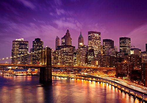 wandmotiv24 Fototapete New York bei Nacht XS 150 x 105cm - 3 Teile Fototapeten, Wandbild, Motivtapeten, Vlies-Tapeten Stadt, Nachthimmel, Städte M0178