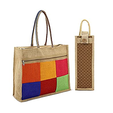 Asian Eco-Friendly Jute Bag-Reusable Tiffin/Shopping/Grocery Multipurpose Hand Bag with Zip & Handle for Men and Women(Pack of 2)