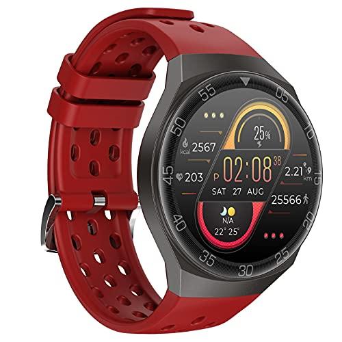 BNMY Smartwatch Orologio Fitness Sportivo Donna Uomo Impermeabile Smart Watch Cardiofrequenzimetro Contapassi da Polso Monitor Pressione Sanguigna Activity Tracker per Android iOS,Rosso