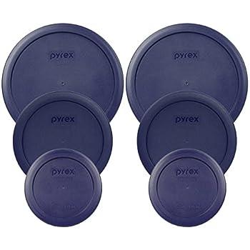 Pyrex  2  7402-PC 6/7 Cup Blue  2  7201-PC 4 Cup Blue  2  7200-PC 2 Cup Blue Food Storage Dish Lids - 6 Pack