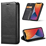 BLU G90 Pro Case with Tempered Glass Screen Protector, [Kickstand] [Card Slot+Side Pocket] Premium Soft PU Color Matching Leather Wallet Cover Flip Case Protective Case for BLU G90 PRO (Black)