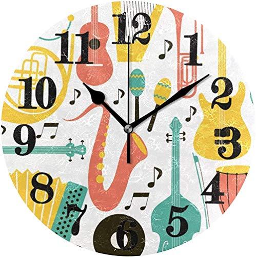 Mesllings Klassische Klavier-Trompeten-Musik, runde Wanduhr, nicht tickend, batteriebetrieben, Quarz-Uhren, 24 cm
