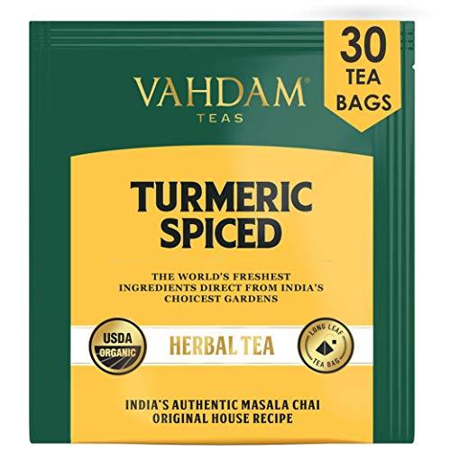 VAHDAM, Organic Turmeric Spiced Herbal Tea (30 Tea Bags) | USDA Certified Organic Blend of Turmeric Powder & Fresh Spices | Turmeric Tea for Weight Loss | 100% Natural Detox | Immunity Support