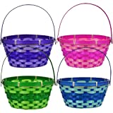 Greenbrier (4) Round Woven Bamboo Easter Baskets with Hinged Handles