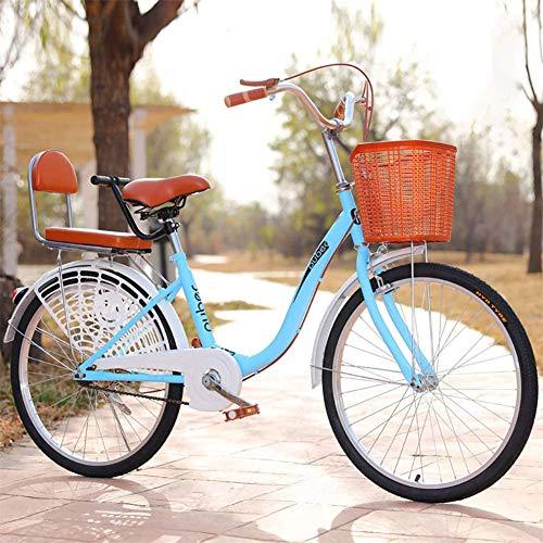 GOLDGOD Urban Commuter Bike, 24 Zoll Comfort Cruiser Bike Für Damen Retro-Fahrrad Im Holländischen Stil Mit Korb Und Verstellbarem Sitz Das Park Touring City Road Fahrrad,Blau,24inch