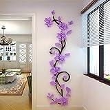 Xshuai DIY 3D Acryl Kristall Blume Wandaufkleber Wohnzimmer Schlafzimmer TV Hintergr& Home Dekore (Lila)