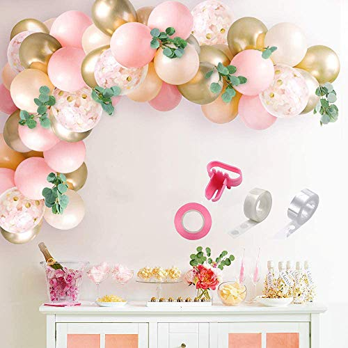 Pink Balloons Garland Arch Kit, Birthday Wedding Party Balloons Decorations, Light Pink, Peach Blush, Gold, Confetti Balloons, Eucalyptus Olive, Baby Shower Decorations for Girl.