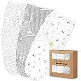 Organic Baby Swaddle Wrap Blankets - 3-Pack Newborn Baby Swaddles 0-3 Months - Ergonomic Baby Sleep Sack - Infant Swaddle Sacks - Swaddle Blanket Sleeping Bag for Newborn, Infant, Premie