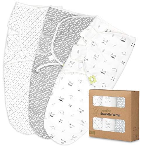 Organic Baby Swaddle Sleep Sacks - 3-Pack Newborn Baby Swaddles 0-3 Months - Ergonomic Baby Sleep Sack - Infant Swaddle Sleep Sacks - Swaddling Wrap Blanket Sleeping Bag for Newborn, Infant, Premie