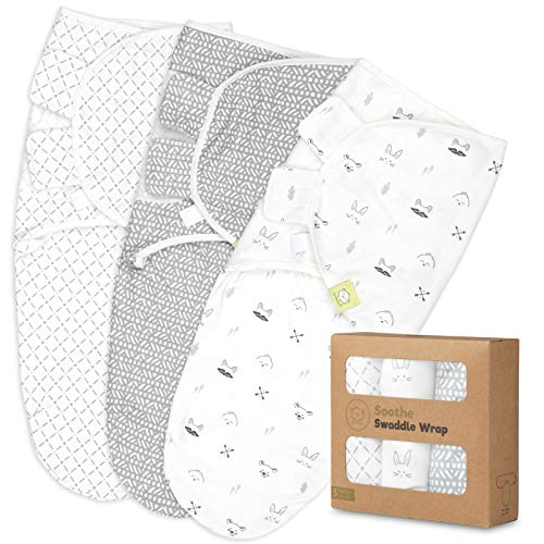 Organic Baby Swaddle Wrap Blankets - 3-Pack Newborn Baby Swaddles 0-3 Months - Ergonomic Baby Sleep Sack - Infant Swaddle Sacks - Swaddle Blanket Sleeping Bag for Newborn, Infant, Premie