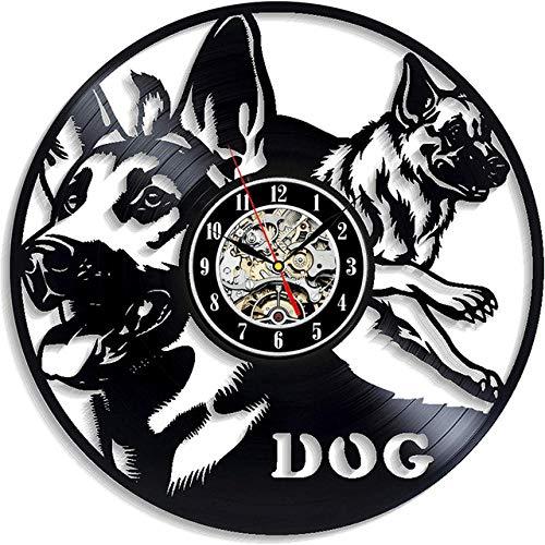 SKYTY Reloj de pared de vinilo para perro de mascota, disco de vinilo retro, 3D, para amantes de las mascotas, regalo para decoración del hogar, 5_no luz LED de 12 pulgadas