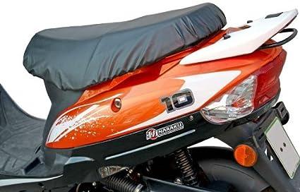 Scooter extraíble–Impermeable Funda de Asiento Negro para Baotian QT9Jinlun Fighter 50& China Scooter con Corto Banco