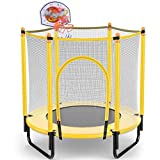 YAWJ Trampolin Indoor Klappbar mit Sicherheitsnetz Und Basketballkorb für Garten Kleine Spielzeug Trampoline Im Innen Und Außenbereich (Color : Yellow)