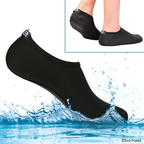 Eco-Fused Women's Water Socks or Shoes with Elastic, Quick Dry, Breathable Fabric and Non-Slip Rubber Sole - Extra Comfort