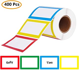Name Tag Labels, 400 Pcs Colorful Plain Name Label Stickers, Size of 8.5x5.5cm/3.3