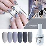 Vishine Lot de 6×8ml Vernis à Ongles Nail Gel UV LED Soak off Vernis Gel Semi Permanent Manucure Nouveauté Lot Gris