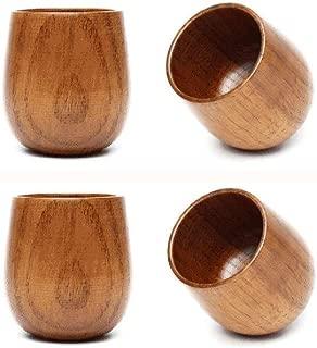 JKLcom Wooden Tea Cups Top Grade Natural Solid Wood Tea Cup 4 Pack,Wooden Teacups Coffee Mug Wine Mug for drinking Tea Coffee Wine Beer Hot Drinks,100-200 ML