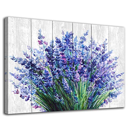 arteWOODS Lavender Wall Art Blue Flowers Watercolor Painting Canvas Picture for Bathroom Bedroom Wall Decor Modern Blossom Canvas Art for Home Decoration 20' x 28'