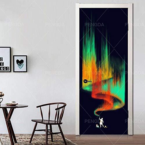3D Deurfolie Deurfolie 3D Deur Sticker Zelfklevende Kleur Graffiti Woondecoratie Waterdicht Behang Modern Canvas Afdrukken Foto Muur Kunstwerk-As_Shown_95X215Cm