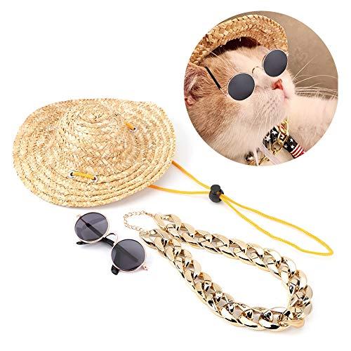 Fdit Cappello di Paglia per Animali Cappello Estivo per Sole Cappello per Cane Classico retrò Rotondo Occhiali da Sole per Gatto Collare Collana Cucciolo Gatto Puntelli Foto(Set da 3 Pezzi)