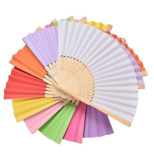 9 paquetes de abanico plegable de bambú multicolor de mano, abanico de...