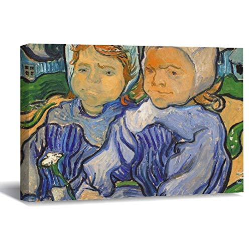 Vincent Van Gogh Two Children Canvas Picture Painting Artwork Wall Art Poto Framed Canvas Prints for Bedroom Living Room Home Decoration, Ready to Hanging 16'x24'