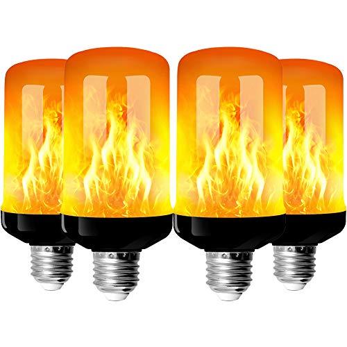 StillCool 4 Stück Flammenlampe, E27 LED Leuchtmittel Flammeneffekt mit 4 Leuchtmodi, dekorative Leuchtmittel für den Innen- und Außenbereich, für Halloween, Weihnachten, Party, Hochzeit, Garten, Haus
