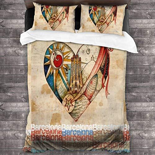 Juego de ropa de cama de 3 piezas de 218 x 177 cm, diseño de Barcelona Spirit – Juego de ropa de cama portátil vintage y colecciones con 2 fundas de almohada para dormitorio de mujer
