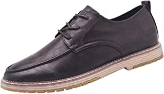 Dingziyue scarpe da uomo, traspiranti, alla moda, casual, scarpe da uomo, in pelle (colore: kaki, taglia: 42)