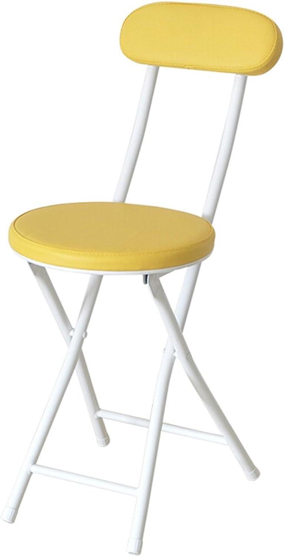 Tiao ZHAN Fashion Folding Stool Home PU Chair Metal Dining Table Chair Modern Minimalist Stool Portable Office Chair bar Chair (color   Yellow)