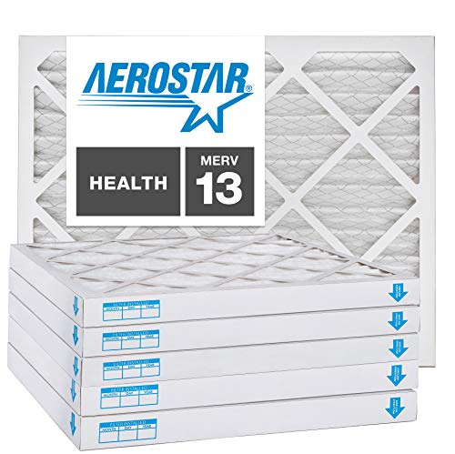Aerostar 20x25x2 MERV 13, Pleated Air Filter, 20x25x2, Box of 6, Made in The USA