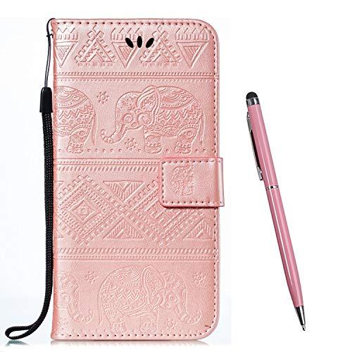 TOUCASA Kompatibel mit Huawei Nova Plus Hülle,Brieftasche PU Leder Flip [Ständer Kartenfach][Elefant Prägung] Hülle Handytasche Klapphülle Kratzfestes Schutz Lederhülle (Rosa)