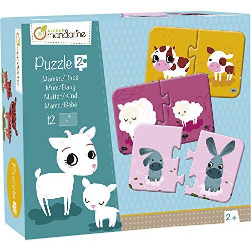 Avenue Mandarine JE502O Set mit 12 Puzzles 2-teilig, praktisch, spielerisch und farbenfroh, ideal für Kinder ab 2 Jahren, 1 Set, Mama/Baby