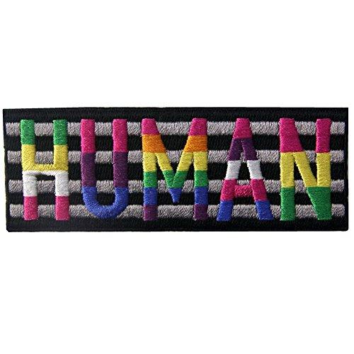 Aufnäher, bestickt, Design: LGBT HUMAN, zum Aufbügeln oder Aufnähen