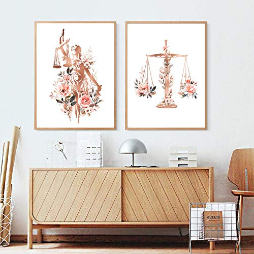 DCLZYF Lady Justice Prints Law Office Decor Pintura Abogado Abogado Regalo Acuarela Floral Canvas Poster Law School Graduación Regalos-50x70cmx2 (sin Marco)